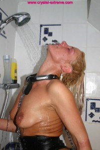 blonde girl showering